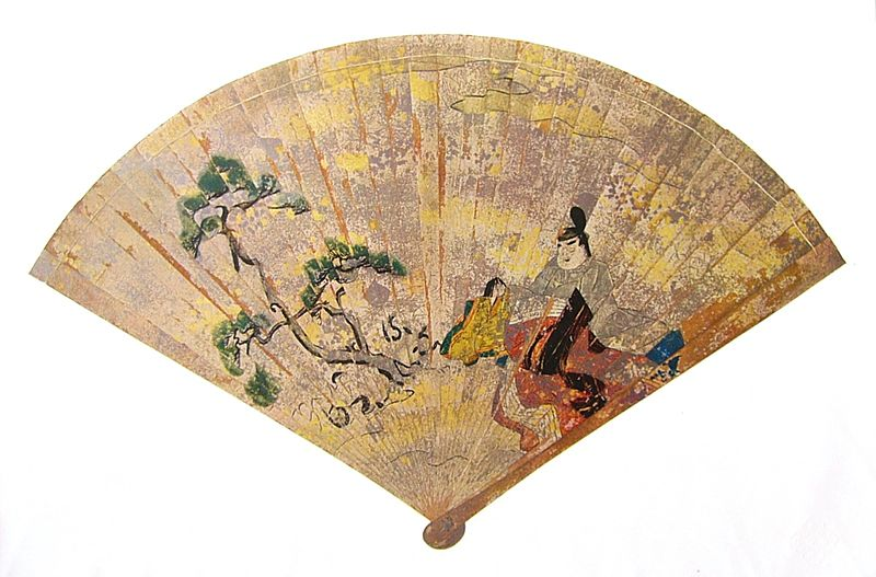 Antiguo abanico tradicional Japonés